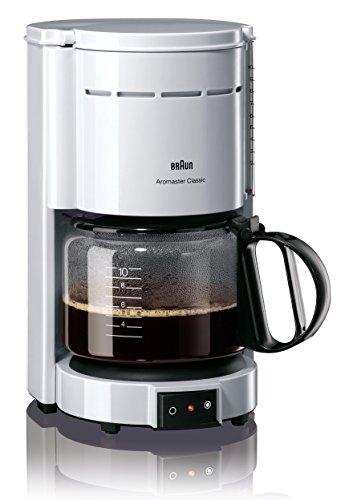 Braun KF 47/1 - Cafetera de goteo, 1000 W, 1.2 L, 20 dB, acero inoxidable, blanco