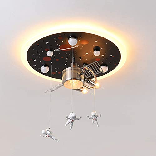 Lámparas de araña Luz De Techo Semi Empotrada Creativa Lámpara De Techo para Dormitorio Infantil Space Ship con Techo De Hierro Forjado para La Habitación De Los Niños,B