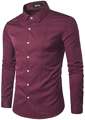 Gdtime Camisa De Vestir De Negocios para Hombres, Color Sólido Clásico, Manga Larga, Corte Slim, Camisas Casuales, Camisa De Vestir Resistente a Las Arrugas para Hombres, Tamaño (Rojo Vino, L)