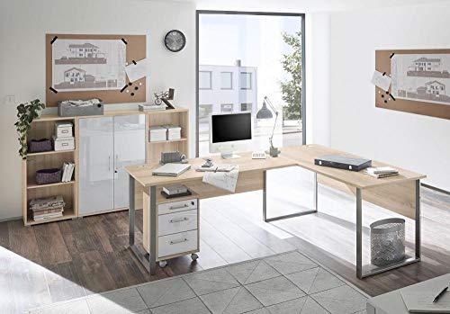 Arbeitszimmer Möbel komplett Set Büro Büromöbel Office Lux Set2 Eiche Sonoma Glas Weiss 5 TLG