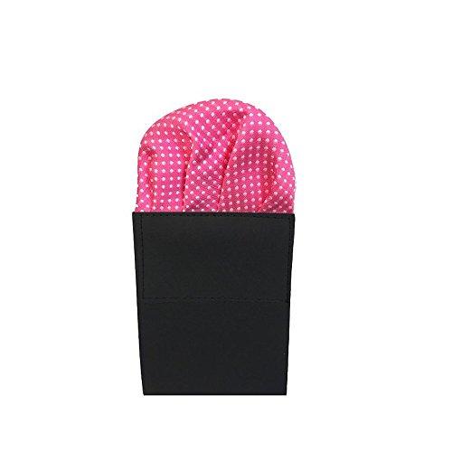 Label-Cravate Pochette-mouchoir fushia de costume pliée « rose-fuchsia » à pois