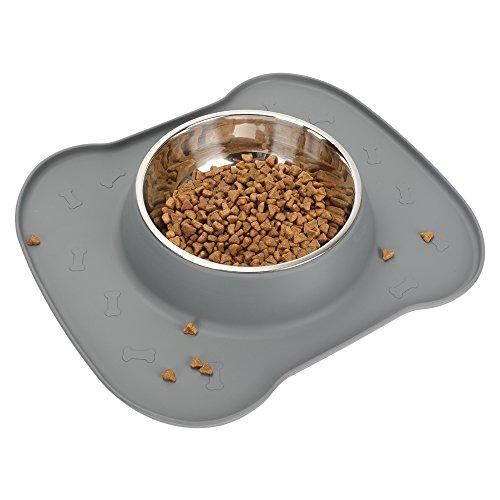 Hundenapf, kein Verschütten, rutschfeste Silikonmatte, Wassernapf, Edelstahlnapf für Hundefuttergetränk(L, Grey)