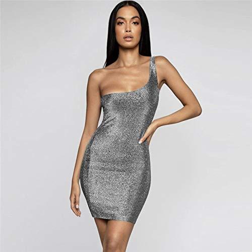 ZioBSQ Damen ärmelloses, figurbetontes Kleid Mode One Shoulder Pailletten Party Slim Minikleid XL B.