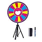 OUKANING Rueda de la suerte de 24 pulgadas, juguete de colores, para juegos de lotería, carnaval, rueda de la mesa de la Fortune, rueda giratoria, rueda de 60 cm de diámetro