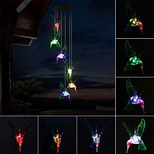 Sunasq Solar-Windspiel-Lichter, LED-Windspiel, mehrfarbig, Gradual, 6 automatischer Sensor, Kolibri, 360 ° Abstrahlwinkel, wasserdicht, für Rasen, Garten, Hof, Zuhause, Party, Festival-Dekoration