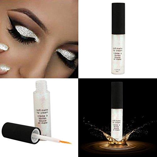 Liquid Eyeliner, Tonsee Yeux fumés métalliques fard à paupières imperméable à l'eau scintillante liquide (Blanc)