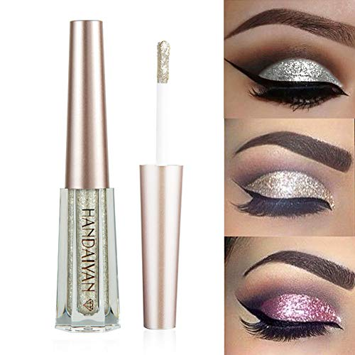 GL-Turelifes Glitter Liquid Eyeshadow Starry Paillettes Mermaid Eye Shadow Long Lasting Waterproof Sparkling Shimmer Eyes makeup (# 7 Argento)