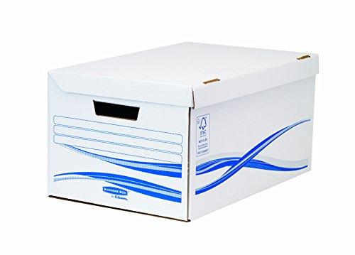 Fellowes 4460502 Conteneur Flip Top Maxi Banker Box Basic montage manuel - Blanc/Bleu (lot de 10)