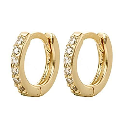 Nsdsb Pendientes De Mujer Pendientes Circulares De Circonitas Multicolores Pendientes De Aro Pequeños Redondos Oro + Blanco