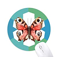 油絵にローズピンクの蝶 円形滑りゴムの雪マウスパッド
