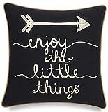 WXM Enjoy The Little Things - Funda de almohada decorativa decorativa de algodón bordada, decoración inspiradora del hogar, decoración del dormitorio, 45,7 x 45,7 cm, color negro