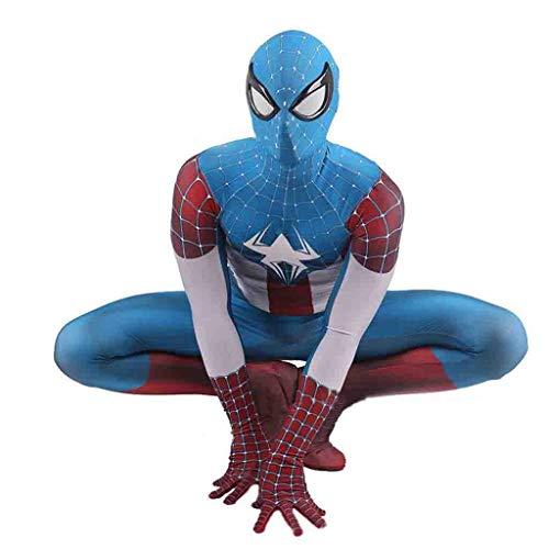 FHTD Disfraz de Disfraz de Spiderman, Disfraz de Capitán América, Traje de Batalla de superhéroes, Juego de Roles de Halloween para niños Adultos en Navidad,Azul,M
