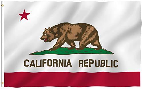 Anley Fly Breeze 4x6 Piede Bandiera dello Stato della California - Resistente ai Colori e allo scolorimento UV - Intestazione in Tela e Doppia Cucitura - Bandiere CA californiane