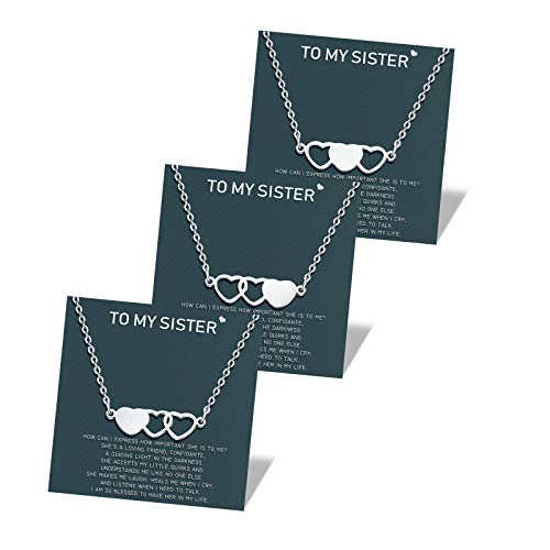 Sisters Gifts from Sister - Sister Necklaces for 3 Matching Heart Friendship Necklace, Sisters Jewelry, Graduation Birthday Gifts for 3 Sisters Women Girls Best Friend