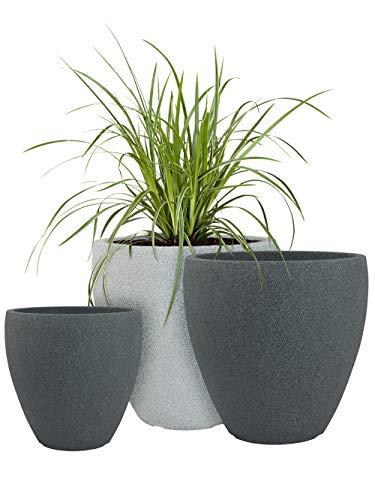 Pflanzwerk® Pflanzkübel Kunststoff Cup Grau Ø40cm Blumentopf *Frostbeständige Blumenkübel* *UV-Schutz* *Premium Pflanzenkübel Qualität*