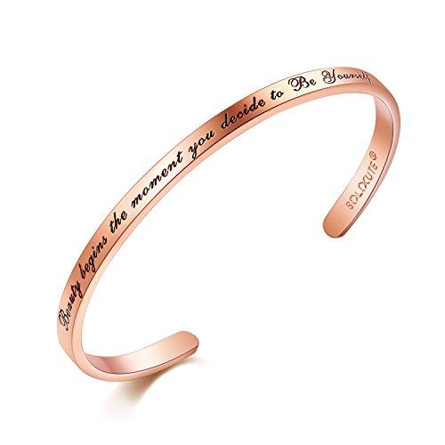 Solocute Damen Armband mit Gravur Beauty Begins The Moment You Decide to Be Yourself Inspiration Frauen Armreif Schmuck