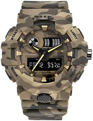 JDHFKS Hombres Deporte Camuflaje Cuarzo Rojo Impermeable Reloj Ocasional Militar llevada Mens Relojes Digitales, Rojo, 21cm (Color : Kahki, Size : 21cm)