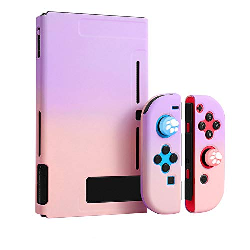OMKUY Protective Cover Case Compatible with Nintendo Switch, Separable Cover for Switch Joy-Con Grip Cover Case (Purple+Pink)