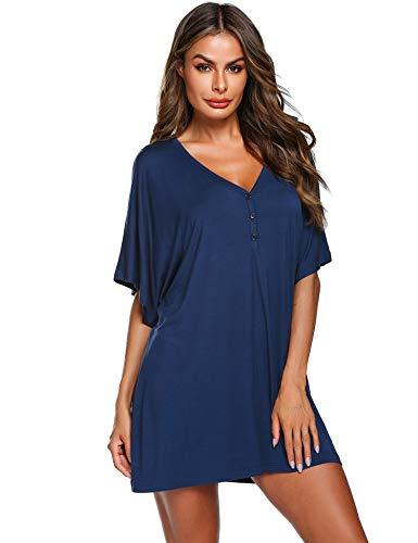 Doneto Damen Nachthemd Still Sexy Geburt Schlafkleid T-Shirt Bluse Top Schafanzug mit Knopfleiste für Schwangere Frauen SommerBlau