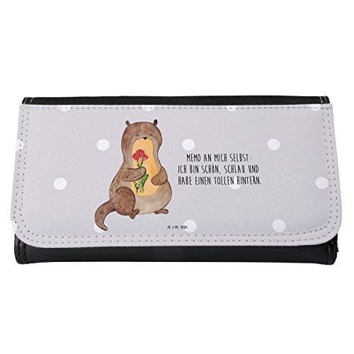 Mr. & Mrs. Panda Geldbörse, Damen, Damen Portemonnaie Otter Blumenstrauß mit Spruch - Farbe Grau Pastell