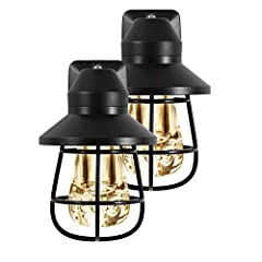 Home Decor: Decorative hood with cage offers a rustic designer look to complement your homes style and decor Automatic On/Off:  Light sensing technology allows the night light to turn on at dusk and off at dawn automatically providing light only when...