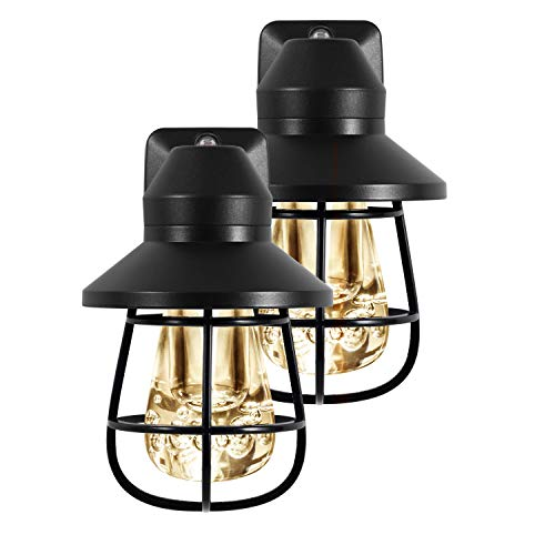 GE Vintage LED Night Light, 2 Pack, Plug-in, Dusk-to-Dawn, Farmhouse Décor, Rustic, UL Listed, Ideal for Bedroom, Nursery, Kitchen, Bathroom, Black Cage, 44737, 2 Count