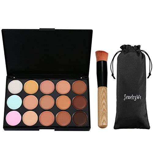 JewelryWe 15 Couleurs de Maquillage Correcteur Contour Palette + Pinceau de Maquillage