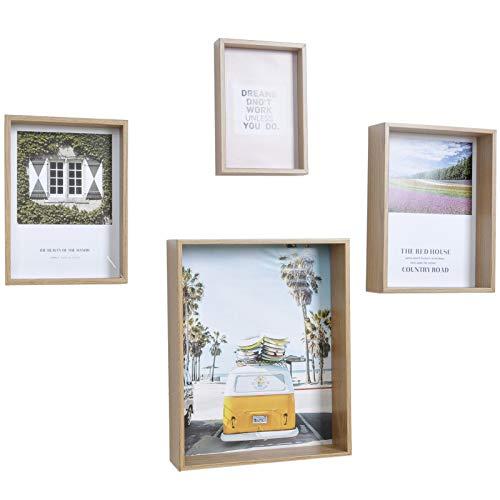 Muzilife Box Bilderrahmen 4er Set mit Glasscheibe - 3D Tiefe Holz Objektrahmen ohne Passepartout in Verschiedene Größen