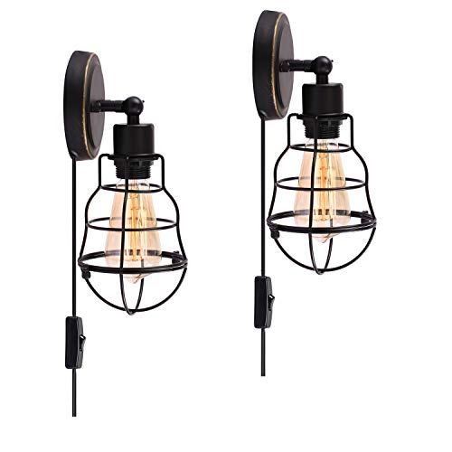 Creatgeek Industrial Wire Cage Rustic Wall Sconce,Plug-in or Hard Wire Vintage Wall Light for Headboard Bedroom Nightstand, Porch or Bathroom-Edison E26 Base Lighting Fixtures,Set of 2