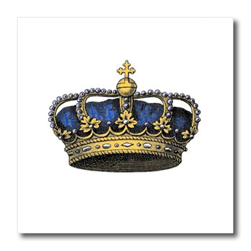3dRose ht_151393_2 Navy Blue Crown Vintage Art Royalty Crown with Pearls and Cross Iron on Heat Transfer, 6 by 6-Inch, for White Material