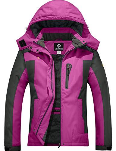 GEMYSE Giacca Invernale da Sci da Montagna Impermeabile da Donna in Pile Antivento con Cappuccio Invernale (Rosso Rosa Grigio,M)