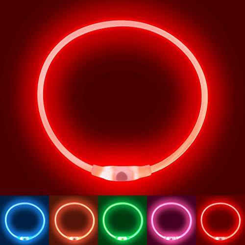 Collare Luminoso per Cani, Collare di Cane Impermeabile,Ricaricabile USB LED Collare Luminoso di Sicurezza per Animale Domestico d'ardore e Misura Regolabile Adatto per Tutti i Cani Gatti (Red)