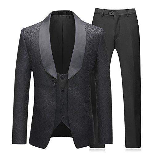 Herren Anzug 3 Teilig Slim Fit Business Hochzeit mit Blume Stoffe und Anuzg Weste und Hose