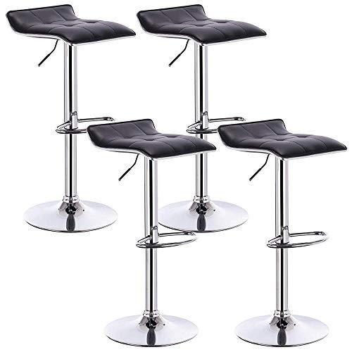 Zplyer barkruk retro eetkamerstoel minimalistische hoge kruk 4-delig kunstleer buiten/verstelbare gasdraailift/voetensteun en onderstel van chroomstaal modern zwart