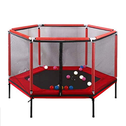 Uhruolo Indoor Mini Kids Trampoline, 5Ft Hexagon Toddler Trampoline with Safety Enclosure Netting and Foam Guardrail, Provide Complete Protection, Best Gift for Children,Red