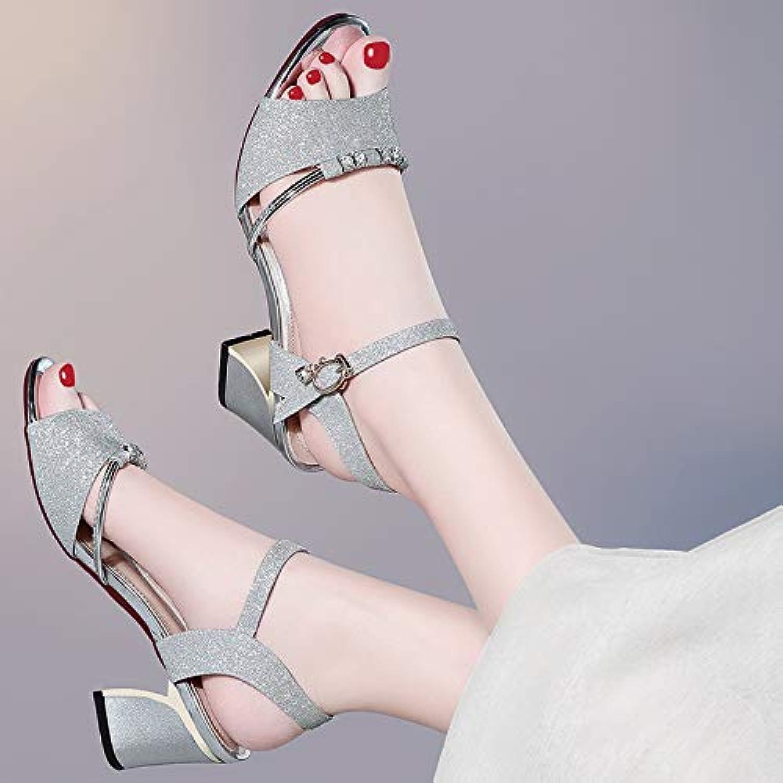 HOESCZS High Heels Damen Sandalen Damen Sommer Neue Dicke Mit High Heels Mode Damenschuhe Dicke Sohlen Groe Schuhe