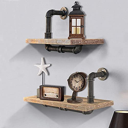 Retro Industrial Floating Pipe Shelf, Wall Mounted Plant Stand, Wooden Towel Rack for Bathroom, Versatile Organizer Ledge, 2 Pcs