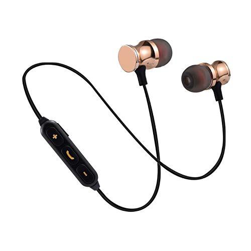 Auriculares Bluetooth de Metal para Sony Xperia 5 Smartphone inalámbricos con Mando a Distancia, Sonido Manos Libres intrauriculares universales (Dorado)
