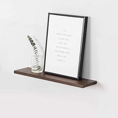 INMAN HOME rustikales schwimmendes Regal aus massivem Eichenholz für die Wand, Holzregal zur Wandmontage, hängendes Regal, Bücherregal, Bildleiste, Nussbaum, 61 cm (24 zoll)