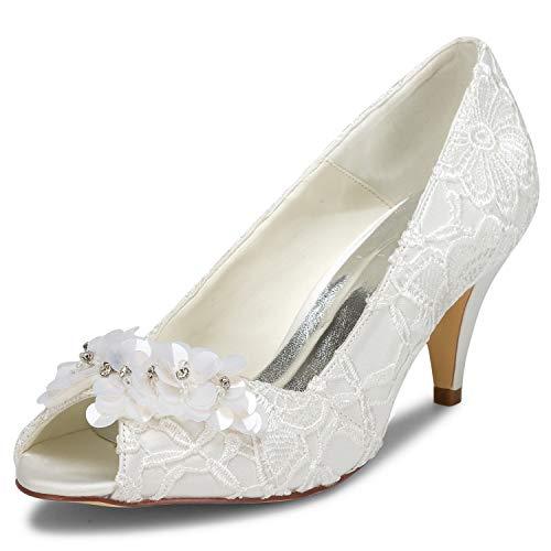 JIA JIA Zapatos de Novia de Las Mujeres 5949420 Peep Toe Cono...