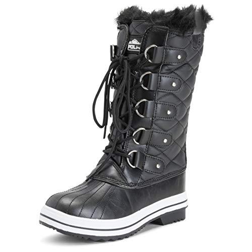 POLAR Womens Snow Boot Quilted Tall Winter Snow Waterproof Warm Rain Boot - 7 - BLL38 YC0010