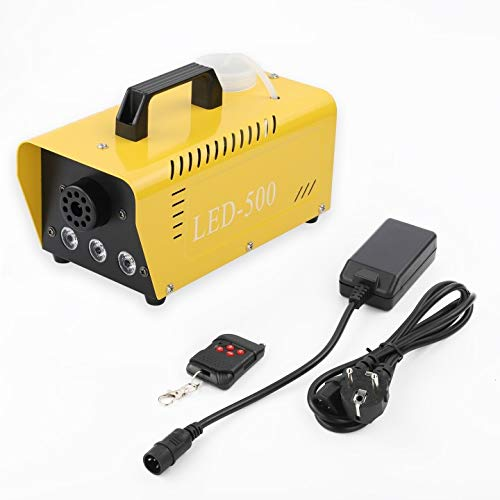 Nebelmaschine 500W Mit Fernbedienung und Dreifarbiges Licht, Mini Nebelmaschine Set für Feiertage Parties Hochzeiten Club DJ Bar (Gelb)