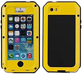 iPhone 5C Case,NIUJNE Luxury Aluminum Alloy Screen Protective Metal Extreme Shockproof Military Bumper Heavy Duty Cover Shell Case (Yellow)