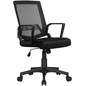 Yaheetech Computer Desk Chair Office Task Chair Ergonomic Mid Back Lumbar Support with Wheels Comfortable Mesh Seat Adjustable Swivel Rolling Home Executive Chair Black