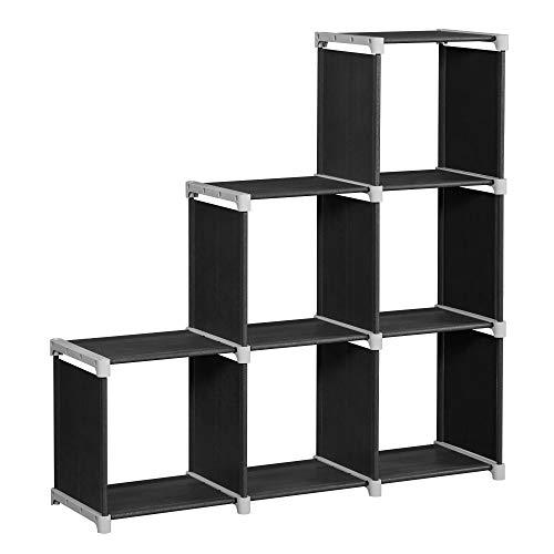 SONGMICS Bücherregal, 6-Würfel-Regal, DIY, Treppenregal, Organizer fürs Wohnzimmer, Aufbewahrungsregal fürs Schlafzimmer, Kinderzimmer, Badezimmer, für Spielzeug, Raumteiler, schwarz LSN63H