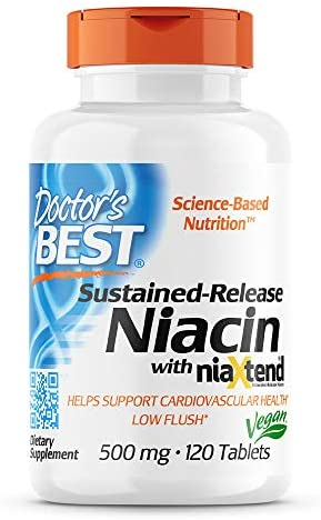 Doctor's Best TimeRelease Niacin with niaxtend NonGMO Vegan Gluten Free 500 mg Tablets, 120 Count