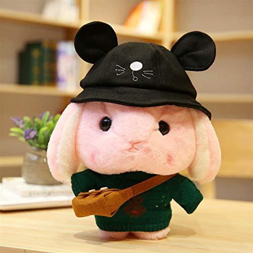HOUMEL Lindo conejo almohada muñeca liebre cojín relleno colorido juguete de peluche para niñas niños recién nacidos, para acompañar a dormir, regalo de cumpleaños 30 cm 300 (color negro)