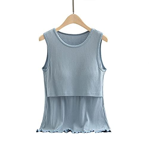 Aiihoo Verano de las mujeres Tops sin mangas acolchado chaleco sin mangas ropa de maternidad para la lactancia materna, azul, L
