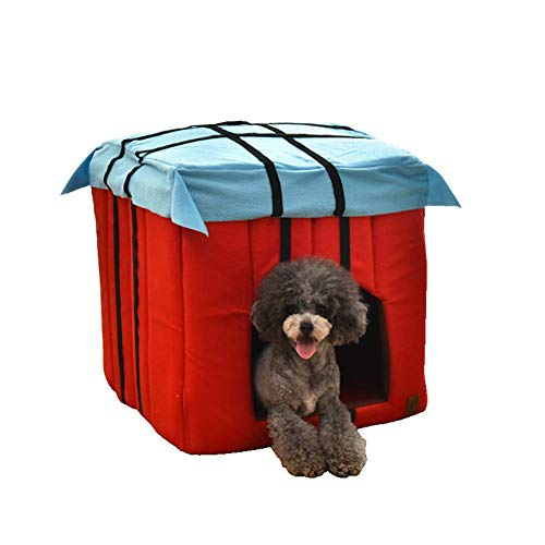 GLEYDY Invierno Vellón Casetas para Perros, Cama de Gato Cajones Caninos y Fundas para Perreras, Caja de Airdrop Nido de Mascotas Cama de Perro Desmontable Fondo Antideslizante,M