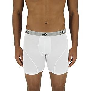 adidas Men's Sport Performance Climalite Boxer Brief Underwear (2 Pack), White, Medium/Waist Size 32-34